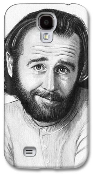 Celebrities Galaxy S4 Cases - George Carlin Portrait Galaxy S4 Case by Olga Shvartsur