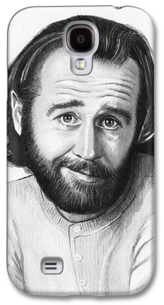 Celebrities Mixed Media Galaxy S4 Cases - George Carlin Portrait Galaxy S4 Case by Olga Shvartsur