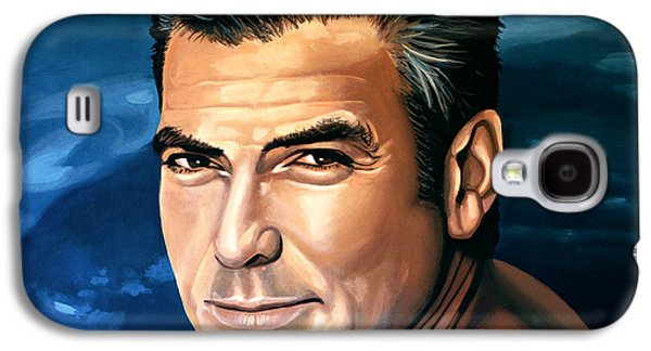 Ross Paintings Galaxy S4 Cases - George Clooney 2 Galaxy S4 Case by Paul  Meijering