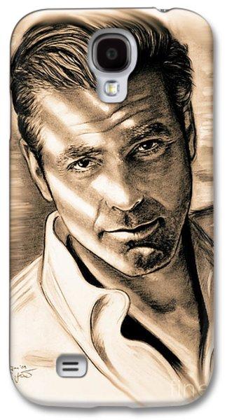 Clooney Galaxy S4 Cases - George Clooney Galaxy S4 Case by Gitta Glaeser