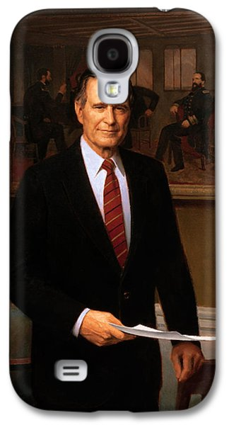 Republican Paintings Galaxy S4 Cases - George HW Bush Presidential Portrait Galaxy S4 Case by War Is Hell Store