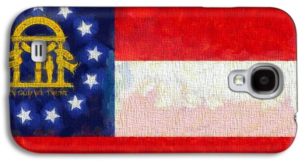 Red White And Blue Mixed Media Galaxy S4 Cases - Georgia State Flag On Canvas Galaxy S4 Case by Dan Sproul
