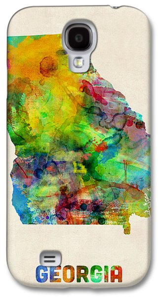 Geography Galaxy S4 Cases - Georgia Watercolor Map Galaxy S4 Case by Michael Tompsett