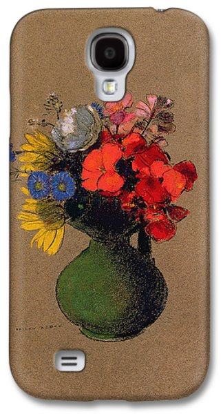 Flower Of Life Galaxy S4 Cases - Geraniums and flowers of the field Galaxy S4 Case by Odilon Redon