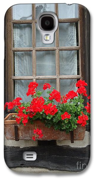 Ancient Galaxy S4 Cases - Geraniums in Timber Window Galaxy S4 Case by Barbie Corbett-Newmin