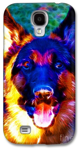 Fuzzy Digital Art Galaxy S4 Cases - German Shepard - Electric Galaxy S4 Case by Wingsdomain Art and Photography