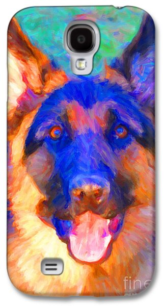 Fuzzy Digital Art Galaxy S4 Cases - German Shepard - Painterly Galaxy S4 Case by Wingsdomain Art and Photography