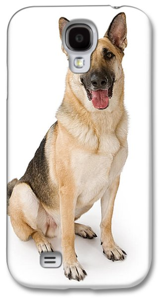 Guard Dog Galaxy S4 Cases - German Shepherd Dog Isolated on White Galaxy S4 Case by Susan  Schmitz