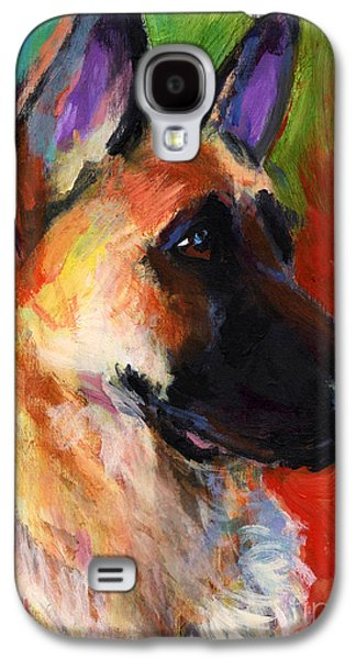 Austin Drawings Galaxy S4 Cases - German Shepherd Dog portrait Galaxy S4 Case by Svetlana Novikova