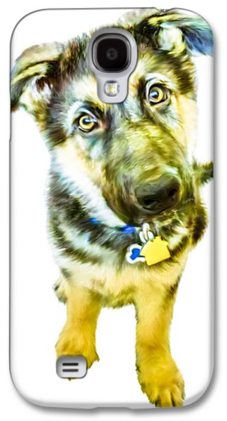 Puppies Digital Art Galaxy S4 Cases - German Shepherd Puppy Galaxy S4 Case by Laura L Leatherwood