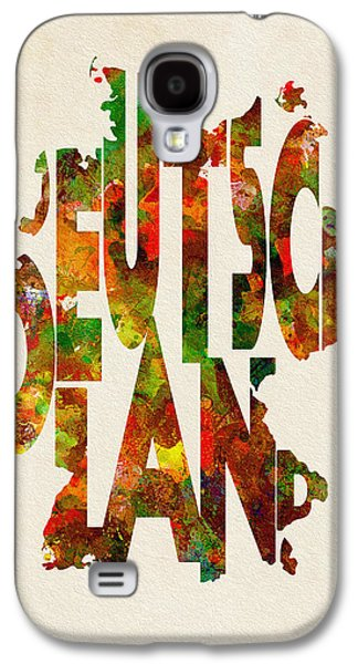 Deutschland Galaxy S4 Cases - Germany Typographic Watercolor Map Galaxy S4 Case by Ayse Deniz