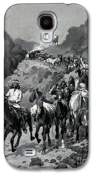 Westerns Drawings Galaxy S4 Cases - Geronimo and his Band Returning from a Raid into Mexico Galaxy S4 Case by Frederic Remington