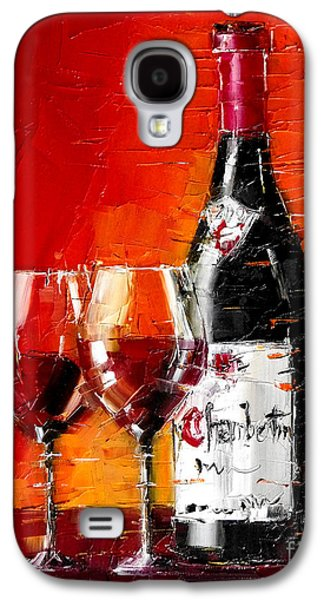 Still Life With Wine Bottle And Glass IIi Galaxy S4 Case by Mona Edulesco