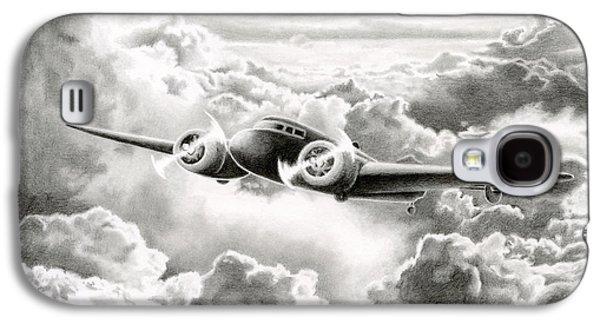 Aviator Drawings Galaxy S4 Cases - Ghost Flight- Amelia Earhart Galaxy S4 Case by Sarah Batalka