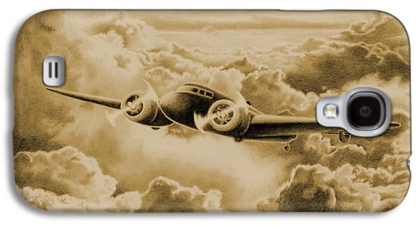Aviator Drawings Galaxy S4 Cases - Ghost Flight- Amelia Earhart Sepia Galaxy S4 Case by Sarah Batalka