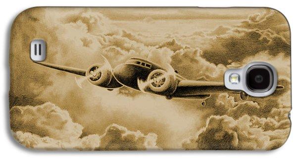 Aviator Drawings Galaxy S4 Cases - Ghost Flight- Amelia Earhart Sepia Galaxy S4 Case by Sarah Batalka