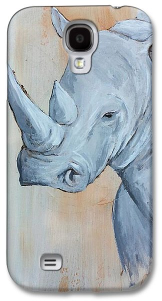 Rhinoceros Paintings Galaxy S4 Cases - Ghost of The Savanna  Galaxy S4 Case by Alvin Clark