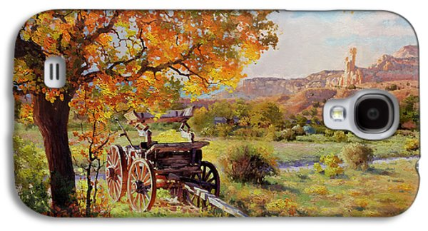 Wooden Wagons Galaxy S4 Cases - Ghost Ranch Old Wagon Galaxy S4 Case by Gary Kim