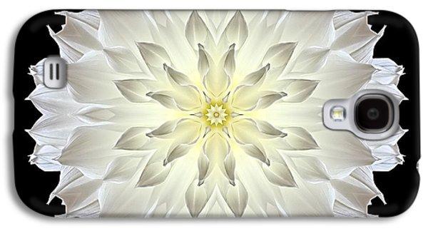 David J Bookbinder Galaxy S4 Cases - Giant White Dahlia Flower Mandala Galaxy S4 Case by David J Bookbinder