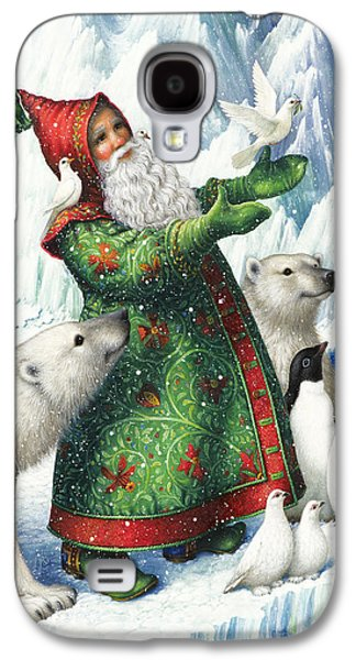 Santa Claus Paintings Galaxy S4 Cases - Gift of Peace Galaxy S4 Case by Lynn Bywaters