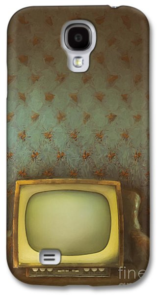 Haunted Digital Art Galaxy S4 Cases - Gilded ornate frame on old wallpaper/digital painting Galaxy S4 Case by Sandra Cunningham