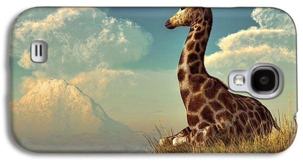 Giraffe Digital Galaxy S4 Cases - Giraffe and Distant Mountain Galaxy S4 Case by Daniel Eskridge