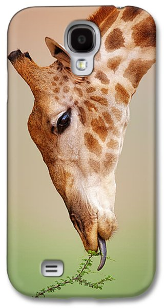 Green Foliage Galaxy S4 Cases - Giraffe eating close-up Galaxy S4 Case by Johan Swanepoel