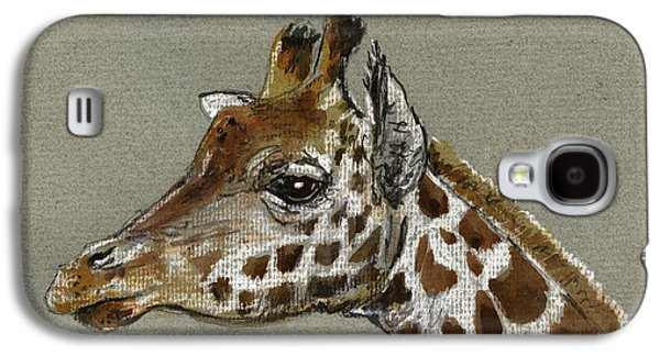 Nature Study Paintings Galaxy S4 Cases - Giraffe head study Galaxy S4 Case by Juan  Bosco