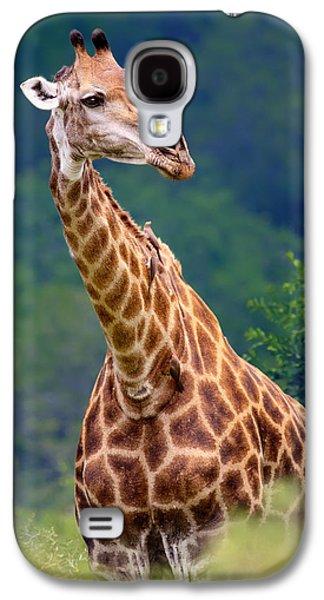 Green Foliage Galaxy S4 Cases - Giraffe portrait closeup Galaxy S4 Case by Johan Swanepoel