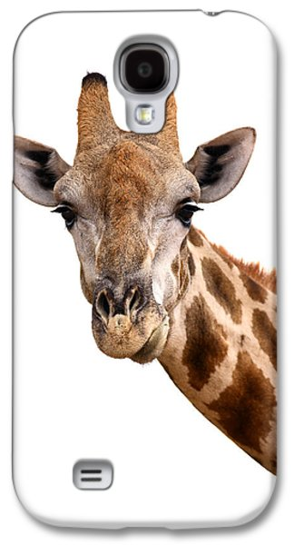 Cutouts Galaxy S4 Cases - Giraffe portrait Galaxy S4 Case by Johan Swanepoel