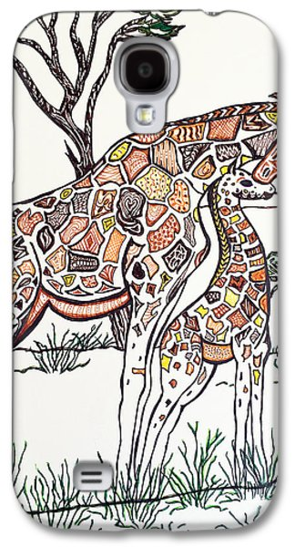 Earth Tones Drawings Galaxy S4 Cases - Giraffe Zen Galaxy S4 Case by Darla Malone