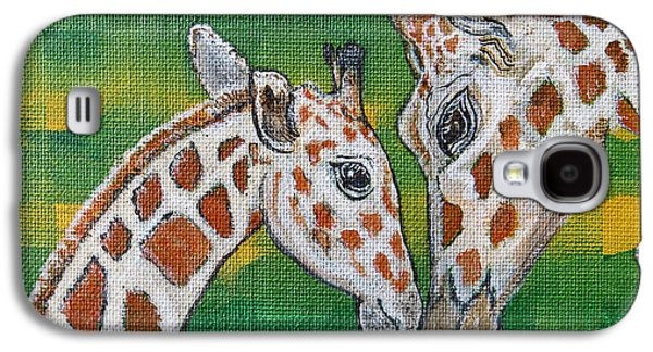 Giraffes Artwork - Learning And Loving Galaxy S4 Case by Ella Kaye Dickey
