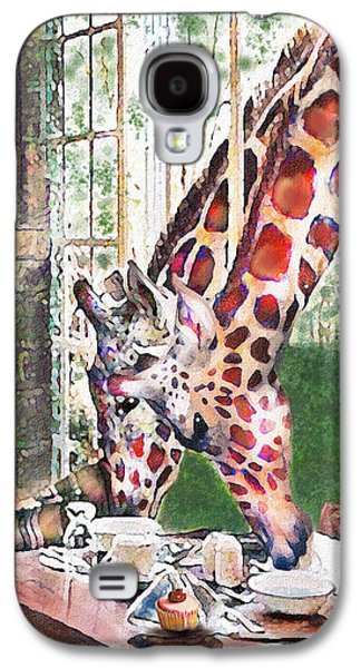 Giraffe Digital Galaxy S4 Cases - Giraffes Come To Tea Galaxy S4 Case by Jane Schnetlage