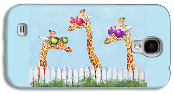 Giraffe Digital Galaxy S4 Cases - Giraffes In Sunglasses Galaxy S4 Case by Jane Schnetlage