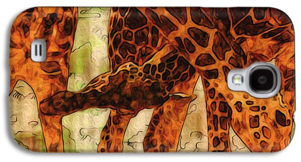 Abstract Digital Art Galaxy S4 Cases - Giraffes  Galaxy S4 Case by Jack Zulli