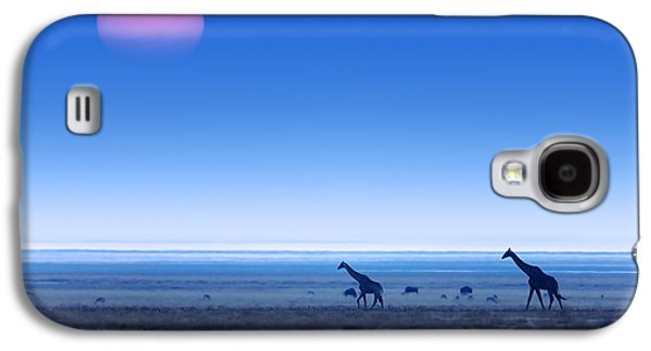 Sun Galaxy S4 Cases - Giraffes on salt pans of Etosha Galaxy S4 Case by Johan Swanepoel