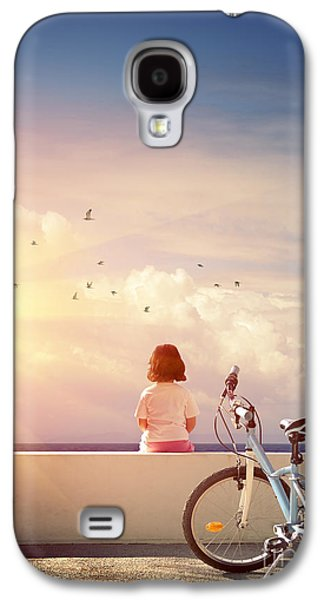 Melancholy Galaxy S4 Cases - Girl and Bicycle Galaxy S4 Case by Carlos Caetano