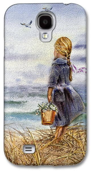 Storms Paintings Galaxy S4 Cases - Girl And The Ocean Galaxy S4 Case by Irina Sztukowski