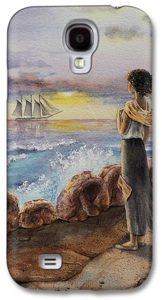 Ocean Sailing Galaxy S4 Cases - Girl And The Ocean Sailing Ship Galaxy S4 Case by Irina Sztukowski