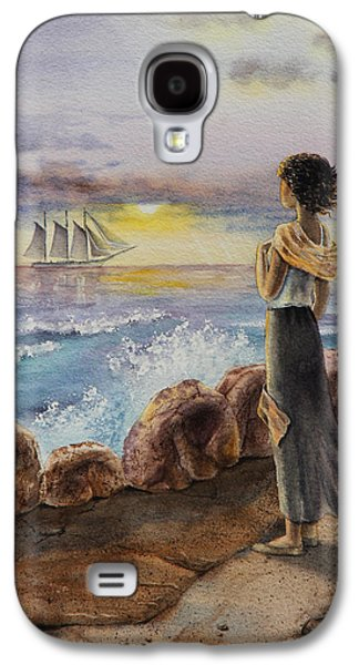 Girl And The Ocean Sailing Ship Galaxy S4 Case by Irina Sztukowski