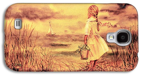 Storms Paintings Galaxy S4 Cases - Girl And The Ocean Vintage Art Galaxy S4 Case by Irina Sztukowski