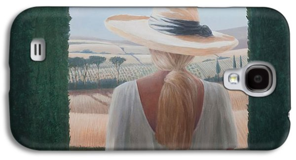 Girl Galaxy S4 Cases - Girl, Back View, Tuscany, 2012 Acrylic On Canvas Galaxy S4 Case by Lincoln Seligman