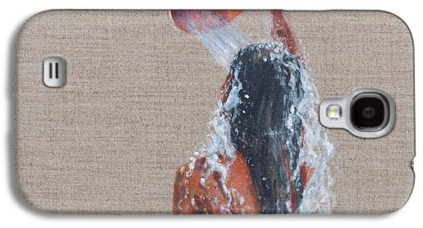 Girl Galaxy S4 Cases - Girl Bathing, 2012 Acrylic On Canvas Galaxy S4 Case by Lincoln Seligman