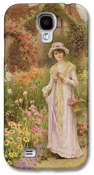 Girl Galaxy S4 Cases - Girl by a herbaceous border Galaxy S4 Case by William Affleck