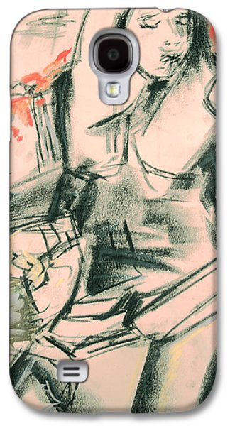 Chair Pastels Galaxy S4 Cases - Girl in a Chair  Galaxy S4 Case by  Tolere