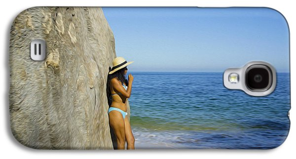 Enjoying Galaxy S4 Cases - Girl looking at the ocean Galaxy S4 Case by Aged Pixel