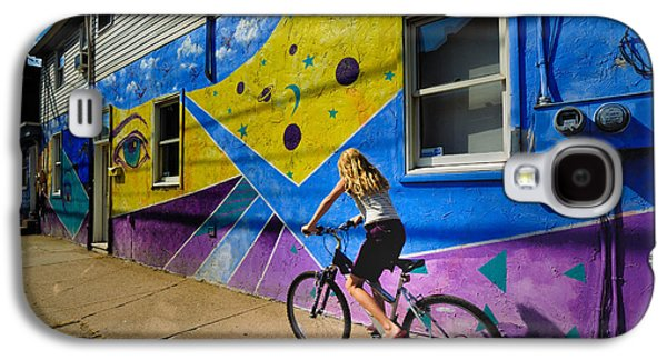 Paiting Galaxy S4 Cases - Girl Rides Bicycle Past Mural on the South Side of Pittsburgh Galaxy S4 Case by Amy Cicconi