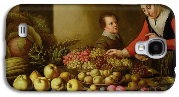 Girl Selling Grapes From A Large Table Laden With Fruit And Vegetables Galaxy S4 Case by Floris van Schooten
