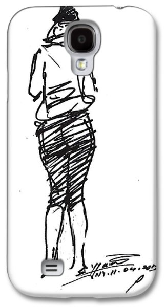 Girl Galaxy S4 Cases - Girl Sketch Galaxy S4 Case by Ylli Haruni