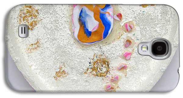 Girl Reliefs Galaxy S4 Cases - Girl spreading hearts whole artwork Galaxy S4 Case by Heidi Sieber